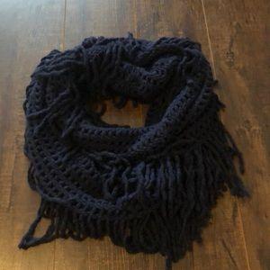Navy Blue fringe infinity Scarf